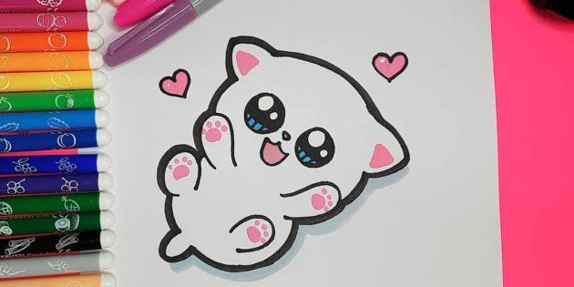 Как нарисовать кошку аниме: Серым фломастером или маркером обозначьте тень справа от животного