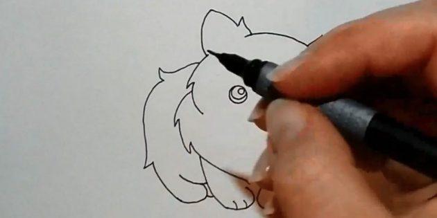Нарисуйте заднюю часть, начиная чуть ниже уха слева