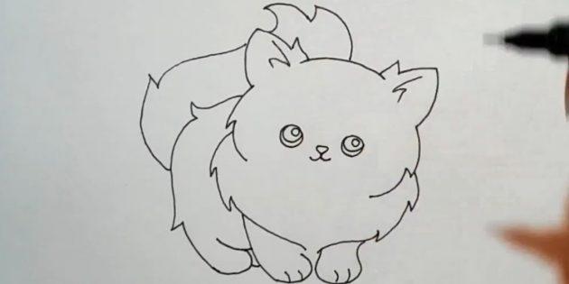 Подарите кошке пушистый хвост и подрисуйте волоски в ушах