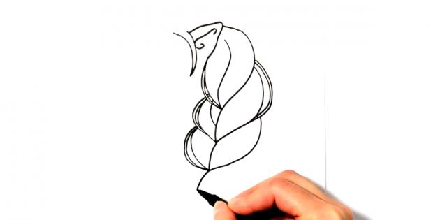 Начиная от уха, нарисуйте пышную косичку