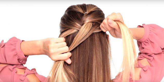 К правой пряди добавьте часть распущенных волос