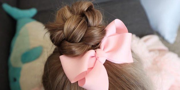 Причёски для девочек: пучок из косы