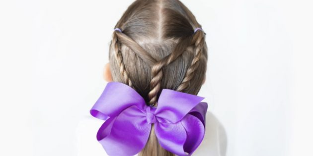 Причёски для девочек: низкий хвост с перекрученными прядками
