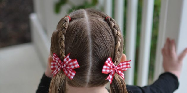 Причёски для девочек: низкие хвостики с двумя косичками