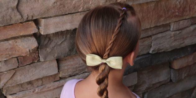 Причёски для девочек: низкий перекрученный хвост