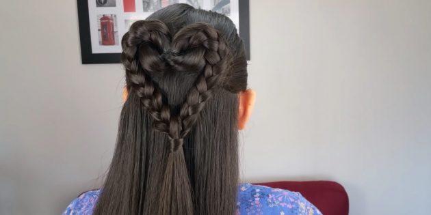 Причёски для девочек: распущенные волосы с сердечком из кос
