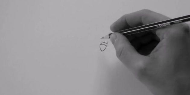 Выведите небольшую плавную линию, слева подрисуйте что-то вроде полукруга