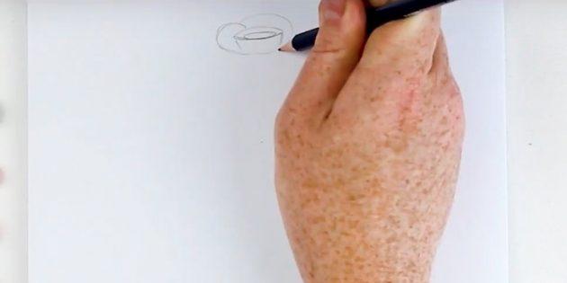 Нарисуйте маленький горизонтальный овал, вокруг него ещё один. Обвейте фигуру двумя лепестками