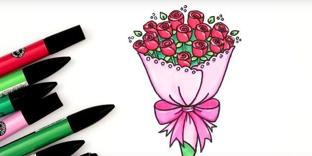Как нарисовать букет роз фломастерами или цветными карандашами