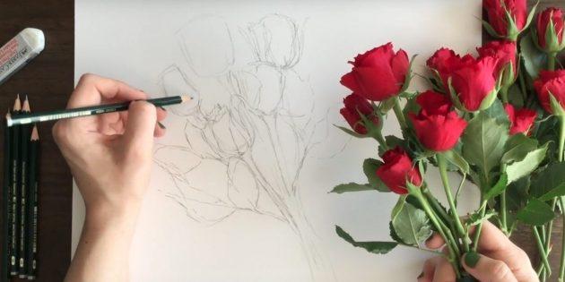 Подрисуйте лепестки и чашелистики у двух нижних роз. Слева изобразите несколько листьев