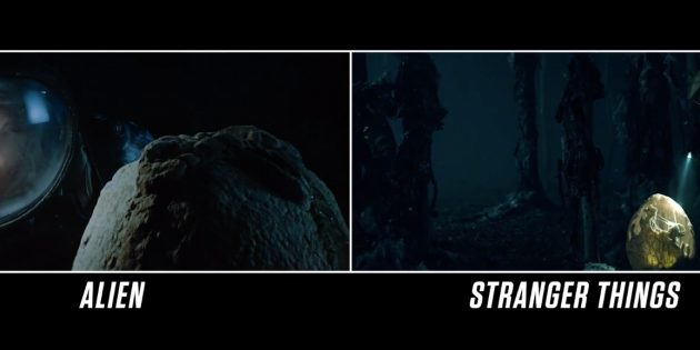 """Похожие кадры из фильма """"Чужой"""" и первого сезона """"Очень странных дел"""""""