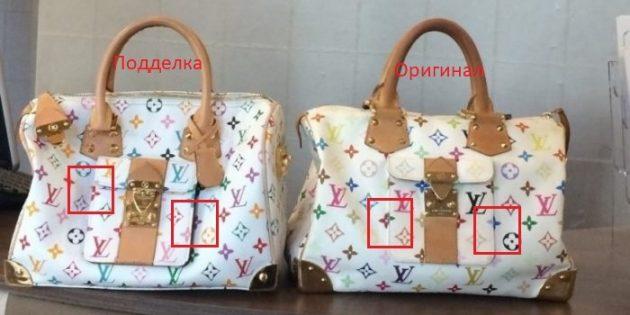 Оригинал и подделки сумок Louis Vuitton: обратите внимание на расположение рисунка