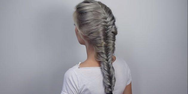 Как плести рыбий хвост по всей длине волос