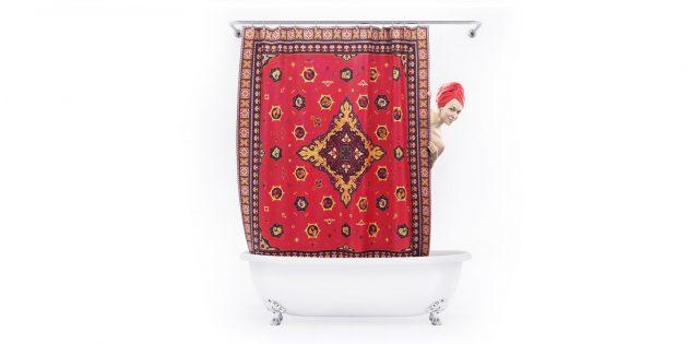 Необычные штуки для настроения и не только: штора для ванной в виде ковра