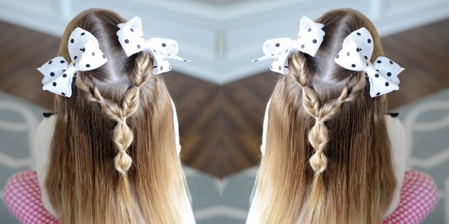 Распущенные волосы с косичками без плетения