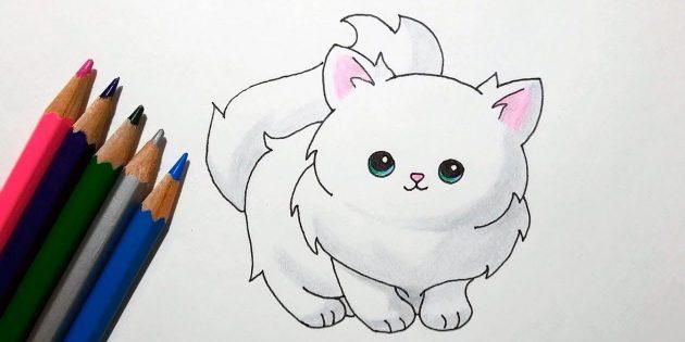 Как нарисовать стоящую кошку в мультяшном стиле