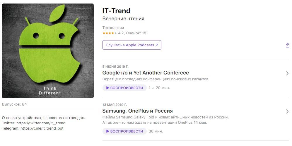 Подкасты о технологиях: IT-Trend