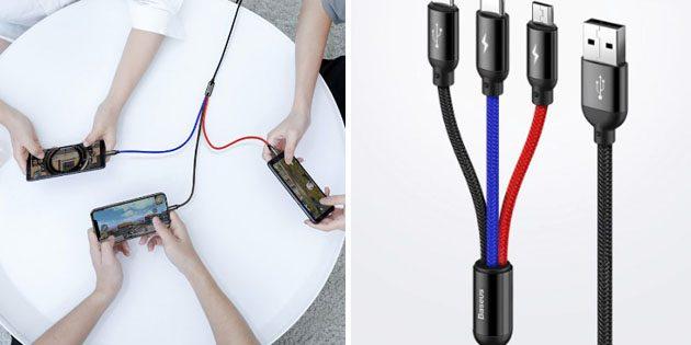Универсальные зарядные кабели: Baseus 3 в 1