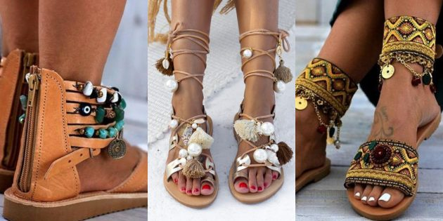 Стиль бохо: носите этно-обувь на плоской подошве