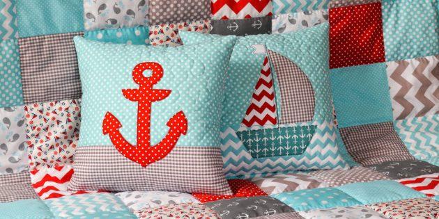 Лоскутные подушки и одеяло