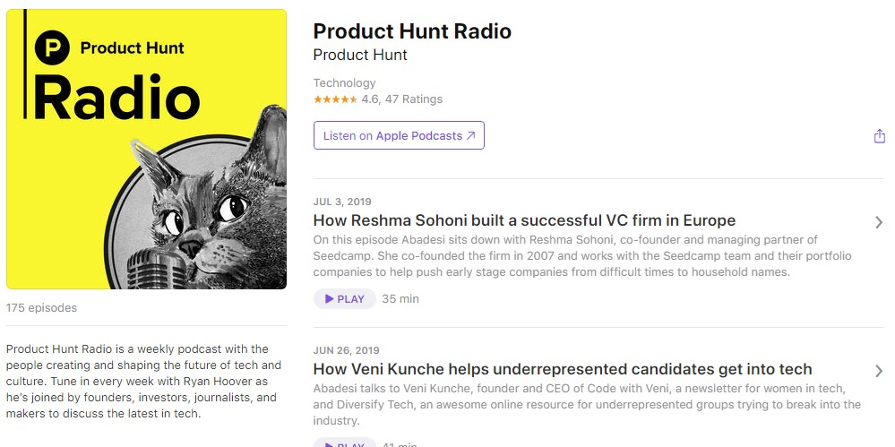 Подкасты о технологиях: Product Hunt Radio