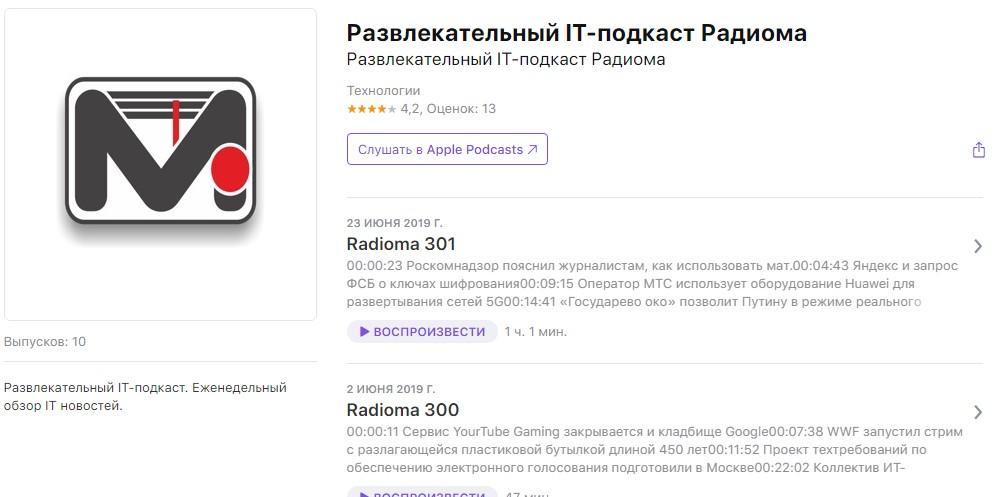 Подкасты о технологиях: «Радиома»