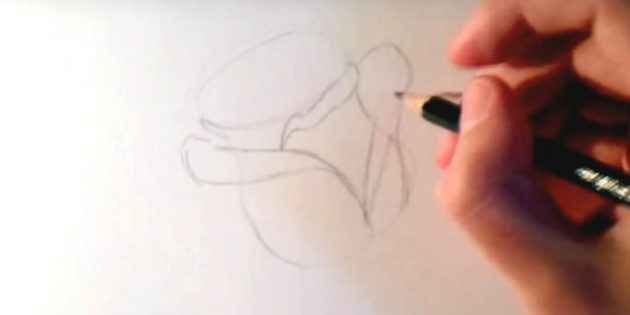Посередине между ними подрисуйте завёрнутый краешек лепестка