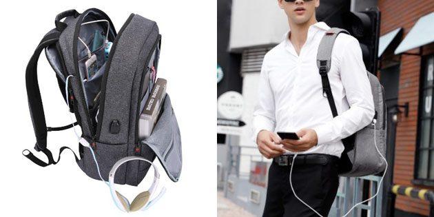 Школьный рюкзак с отверстием для кабеля