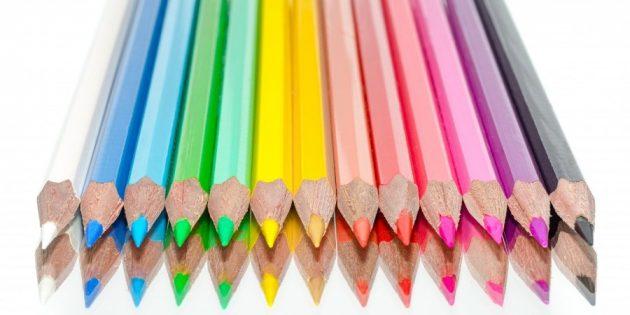Школьные принадлежности: цветные карандаши
