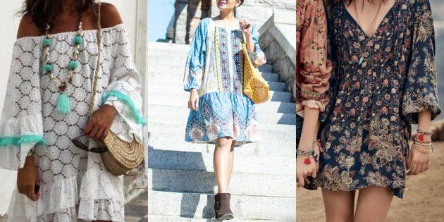 Стиль бохо: выбирайте платья-туники с широкими свободными рукавами