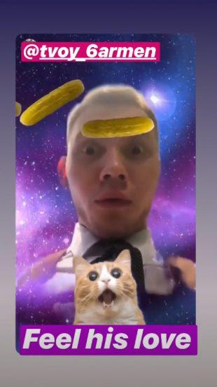 Маска для Instagram с огурцами и котом