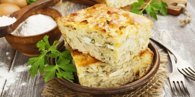 Заливной пирог из капусты — вкусно и недорого