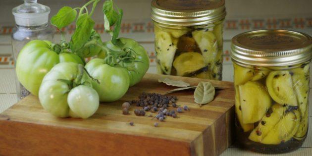 Маринованные зелёные помидоры четвертинками на зиму