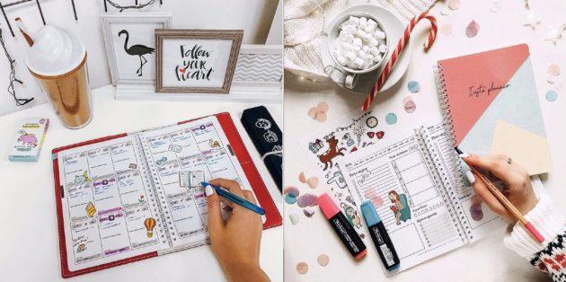 Стикеры и картинки в ежедневнике
