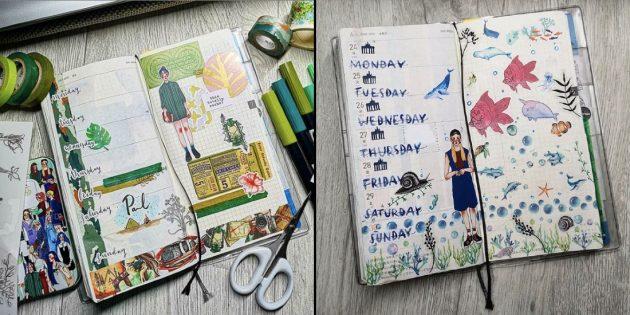 Коллаж в ежедневнике