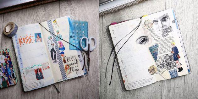 Коллаж и рисунки в ежедневнике