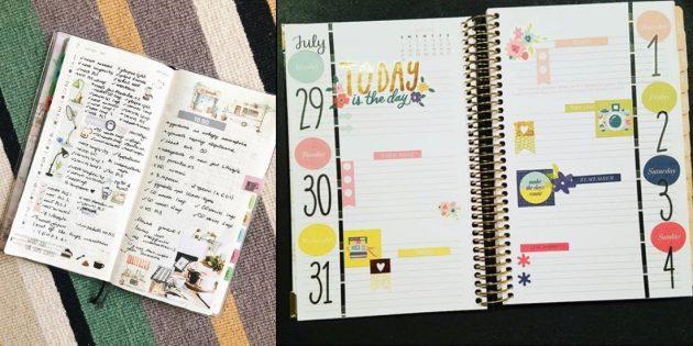 Оформление ежедневника стикерами и вырезками