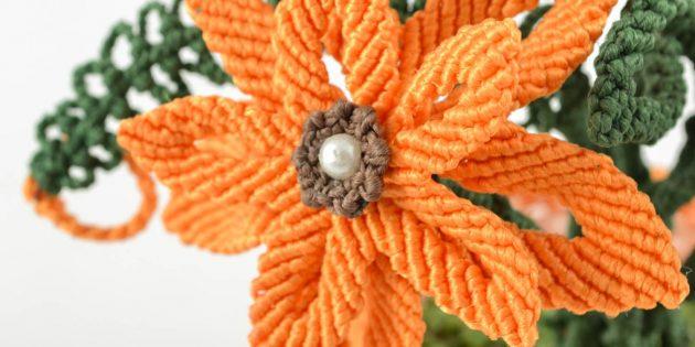 Цветок в технике макраме