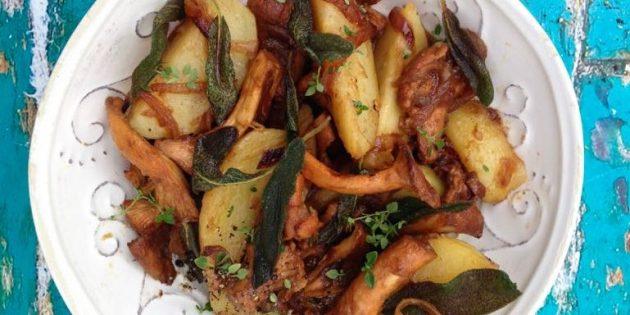 Картошка с лисичками, шалфеем и мёдом