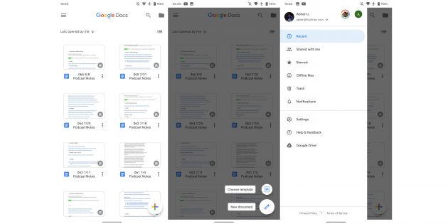 Новый дизайн «Google Документов» для Android
