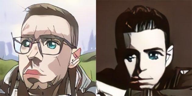 Результаты работы нейросети, которая превращает в персонажей аниме