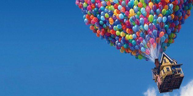 В мультфильме «Вверх» домик взлетает на воздушных шарах