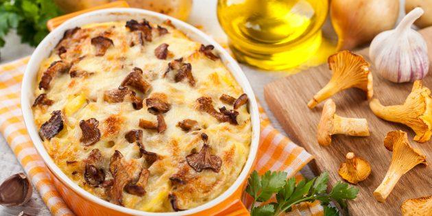Гратен из картошки с лисичками