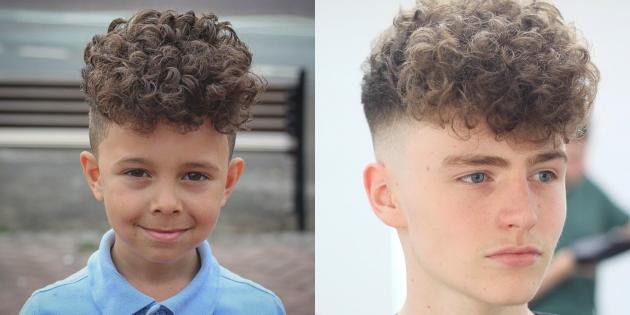Модные стрижки для мальчиков: андеркат на кудрявых волосах