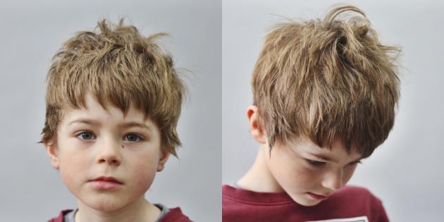 Цезарь на волосах средней длины
