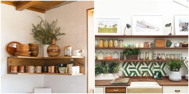 Добавьте в интерьер кухни открытые полочки