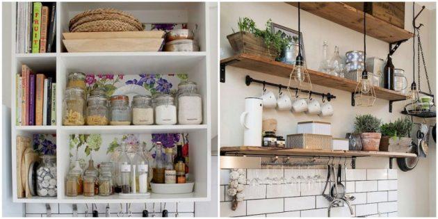 Поставьте на полочки на кухни банки со специями