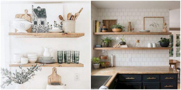 Развесьте открытые полочки на кухне