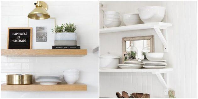 Открытые полочки в интерьере кухни
