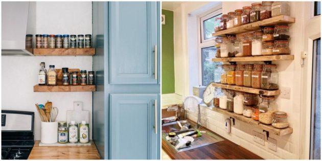 Прикрепите открытые полочки на кухне